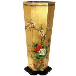 Elm Wood Gold Leaf Umbrella Stand (China)