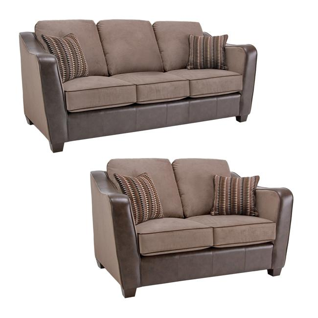 Jaden Chocolate Taupe Faux Leather Fabric Sofa And Loveseat 13439565