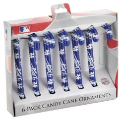 Los Angeles Dodgers Plastic Candy Cane Ornament Set