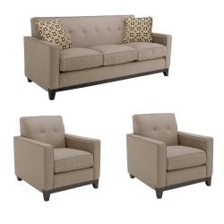 Jazz Pewter Fabric Sofa and Two Chairs