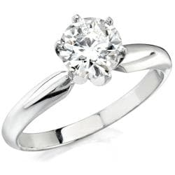 Victoria Kay 14k White Gold 1/3ct TDW Certified Solitaire Diamond Ring (H-I, SI2-SI3)