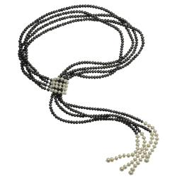 Sterling Silver Black and White Freshwater Pearl Lariat Necklace (4.5-7 mm)