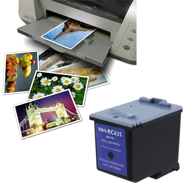 Black Ink Cartridge/ 4 x 6 Glossy Photo Paper for HP 701/ CC635A (Remanufactured)