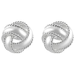 Journee Sterling Silver Edged Knotted Stud Earrings