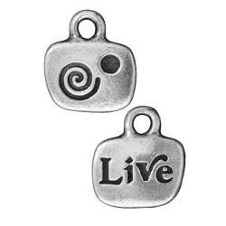 Beadaholique Silverplated Pewter 'Live' Glue-in Crystal Charms (Set of 2)