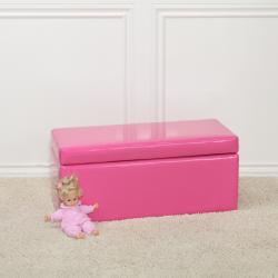 Pink Patent Leather Bench Storage Ottoman