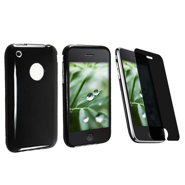 Black TPU Rubber Case/ Privacy Screen Filter for Apple iPhone 3G/ 3GS