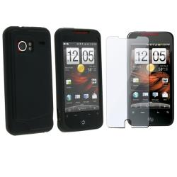 Black Silicone Skin Case w/ Screen Protector for HTC Droid Incredible