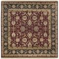 Hand-knotted Finial Dark Burgundy Wool Rug (8' Square)