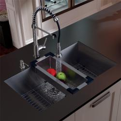 Vigo Undermount Stainless Steel Kitchen Sink, Faucet, Grid, Colander and Dispenser