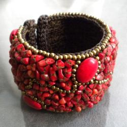 Cotton Rope Red Coral Brass Wire Cuff (Thailand)