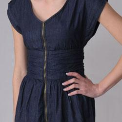 Ci Sono by Journee Junior's Zippered V-neck Denim Dress