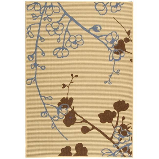 "Safavieh Indoor/Outdoor Natural/Blue Floral Rug (4' x 5'7"")"