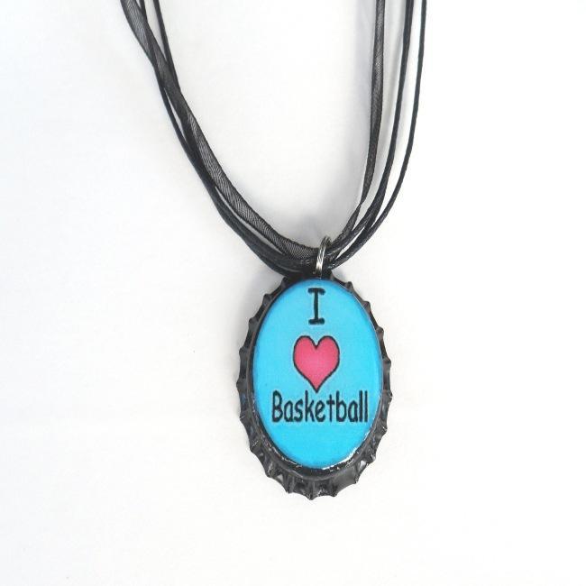 Blue 'I Love Basketball' Bottle Cap Necklace