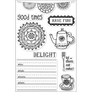 Basic Grey Paper Cottage Cling Stamps By Hero Arts-Let Them Eat Cake!