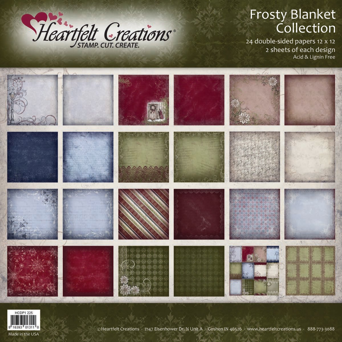 Heartfelt 12x12-inch Double-Sided 48-page 'Frosty Blanket' Paper Collection