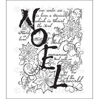 Heartfelt Creations 'Noel Collage' 5x6.5-inch Cling Rubber Stamp Set