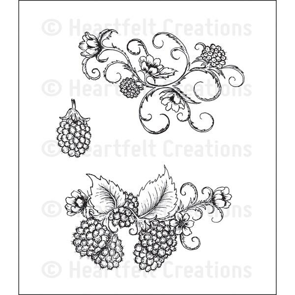 Heartfelt Creations 'Ornamental Raspberries' 5x6.5-inch Cling Rubber Stamp Set