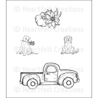 Heartfelt Creations 'Antique Truck' 5x6.5-inch Cling Rubber Stamp Set