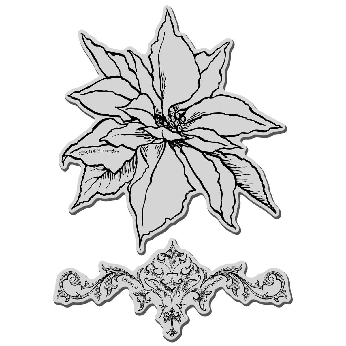 Stampendous Christmas 'Poinsettia' Jumbo Cling Rubber Stamp