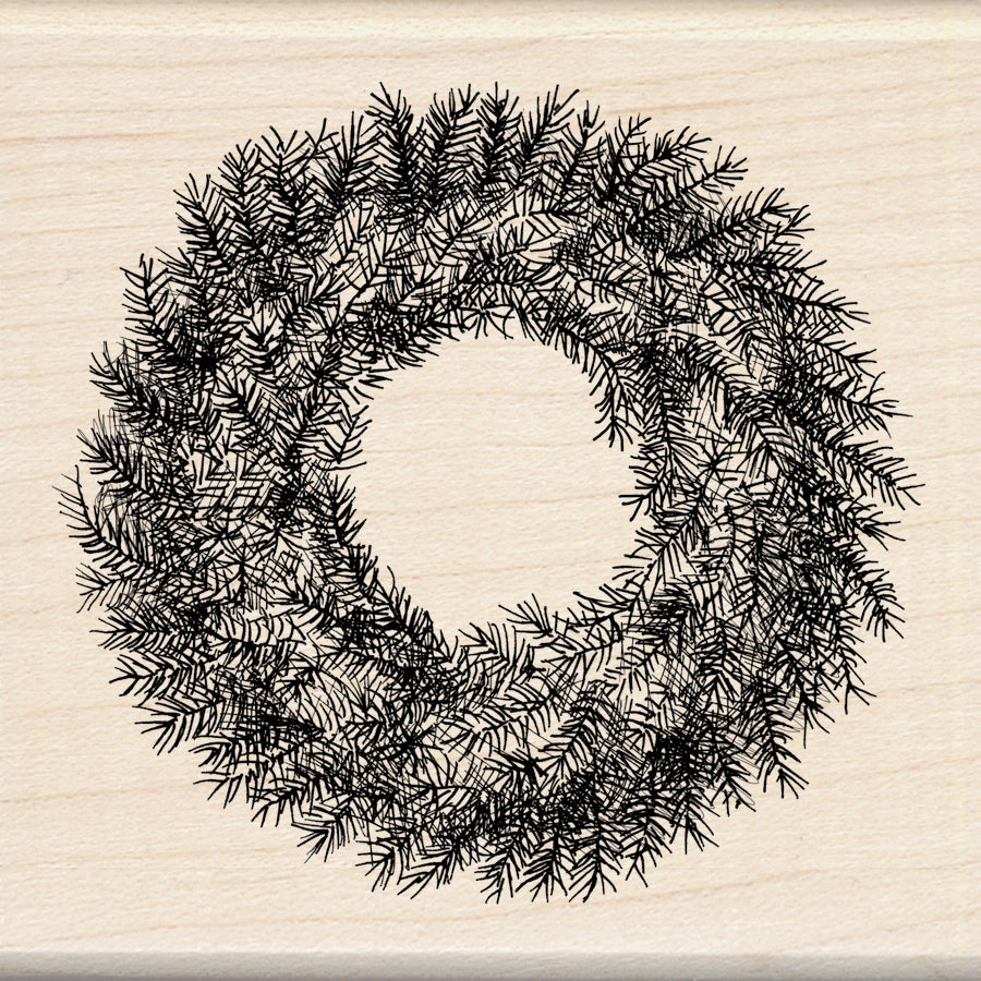 Inkadinkado 'Evergreen Wreath' 3x3-inch Wood Mounted Rubber Stamp