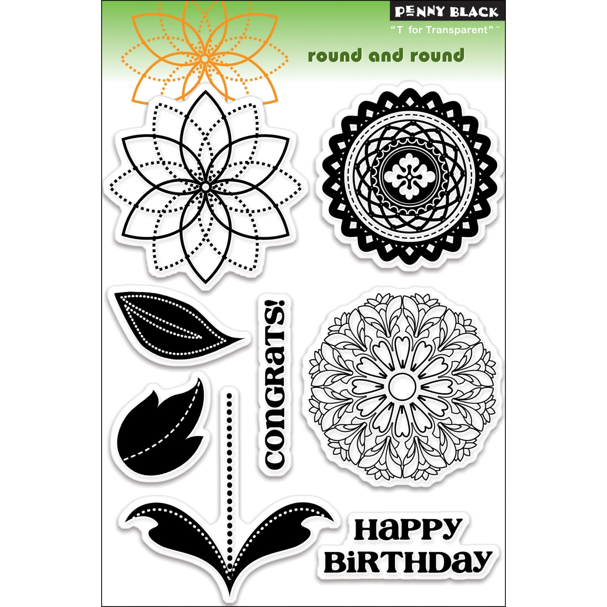 "Penny Black Clear Stamps 5""X7.5"" Sheet-Round And Round"