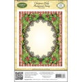"JustRite Stampers Cling Background Stamp 4-1/2""X5-3/4""-Christmas Holly"