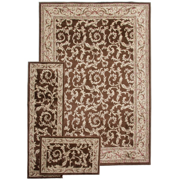 French ScrollsTransitional Brown 3-piece Rug Set