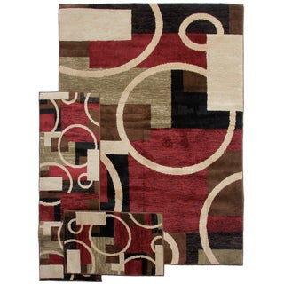Geometric Temptation Shapes Multi 3-piece Rug Set