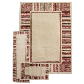 Contemporary Stipes Border Ivory 3-piece Rug Set