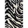 Shag Plush Zebra Black Area Rug (5' x 7'2)