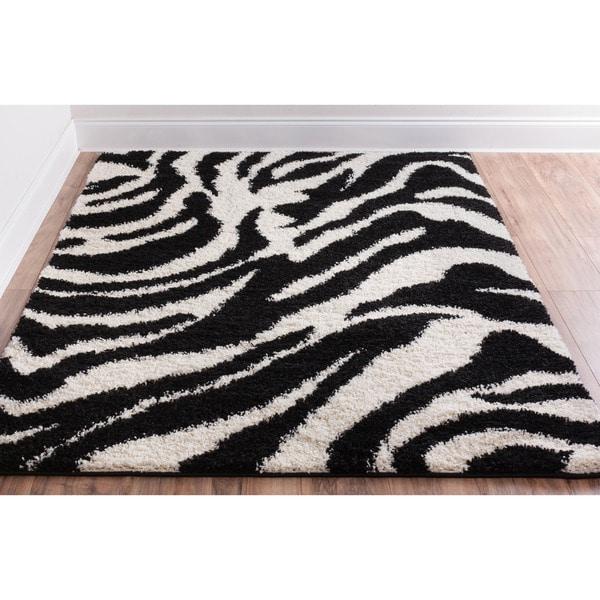 Shag Plush Black And Ivory Zebra Print Area Rug (5' X 7'2