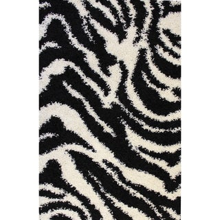 Shag Plush Zebra Black Area Rug (1'8 x 7'2)