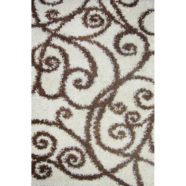 Shag Plush Beige Swirl Scrolls Area Rug (5' x 7'2)