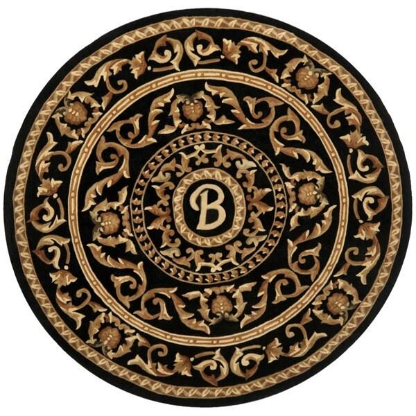 Safavieh Handmade Monogram B Black New Zealand Wool Rug