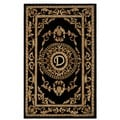 Safavieh Handmade Monogram D Black New Zealand Wool Rug