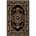 Safavieh Handmade Monogram H Black New Zealand Wool Rug