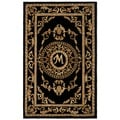 Safavieh Handmade Monogram M Black New Zealand Wool Rug