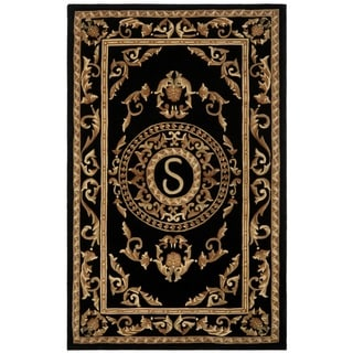 Safavieh Handmade Monogram S Black New Zealand Wool Rug