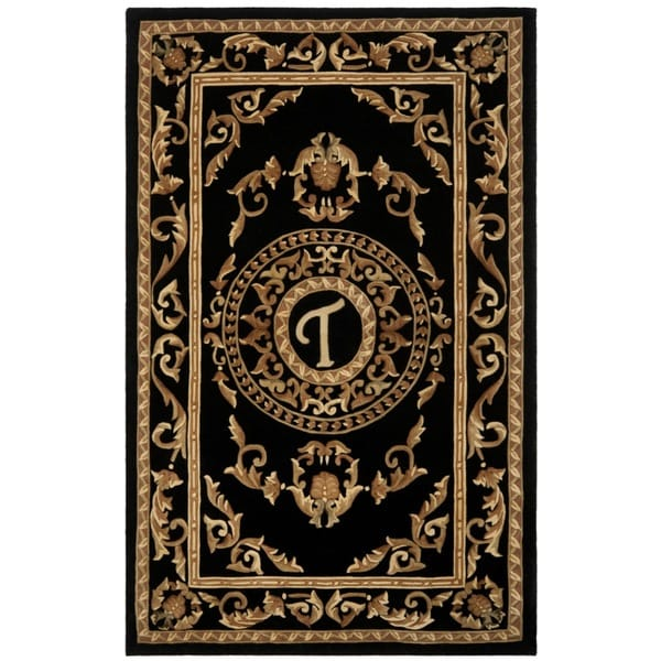 Safavieh Handmade Monogram T Black New Zealand Wool Rug