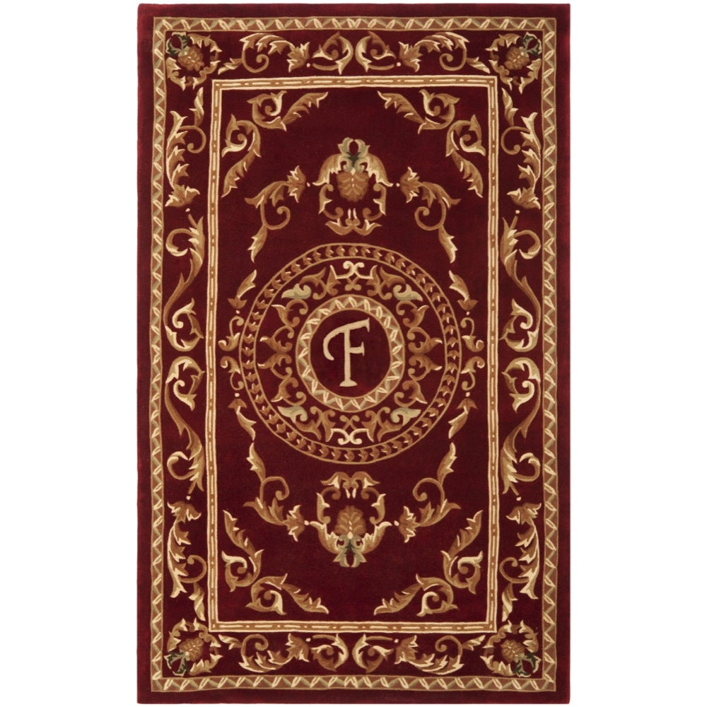 Safavieh Handmade Monogram F Red New Zealand Wool Rug