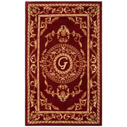 Safavieh Handmade Monogram G Red New Zealand Wool Rug
