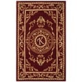 Safavieh Handmade Monogram K Red New Zealand Wool Rug