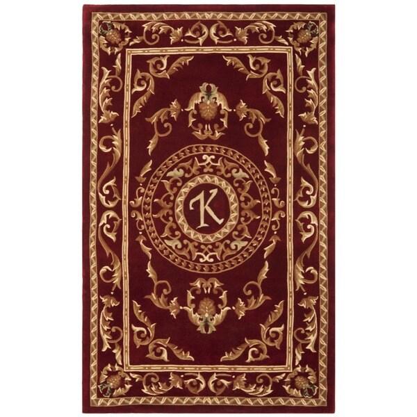 Safavieh Handmade Monogram K Red New Zealand Wool Rug