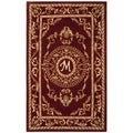 Safavieh Handmade Monogram M Red New Zealand Wool Rug