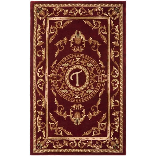 Safavieh Handmade Monogram T Red New Zealand Wool Rug