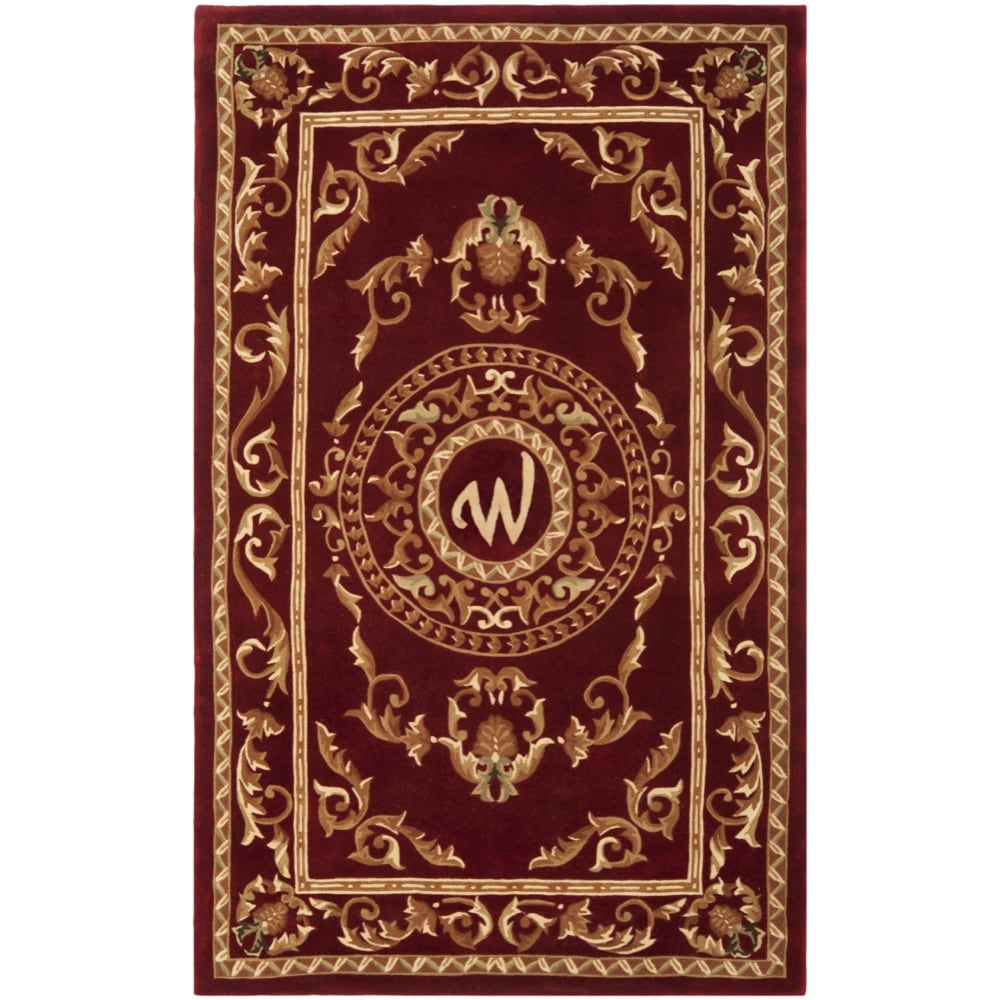 Safavieh Handmade Monogram W Red New Zealand Wool Rug