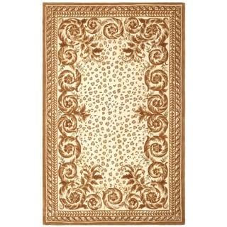 Safavieh Handmade Leopard Scrolls Ivory New Zealand Wool Rug