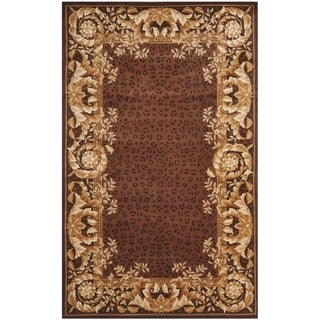 Safavieh Handmade Leopard Scrolls Red New Zealand Wool Rug