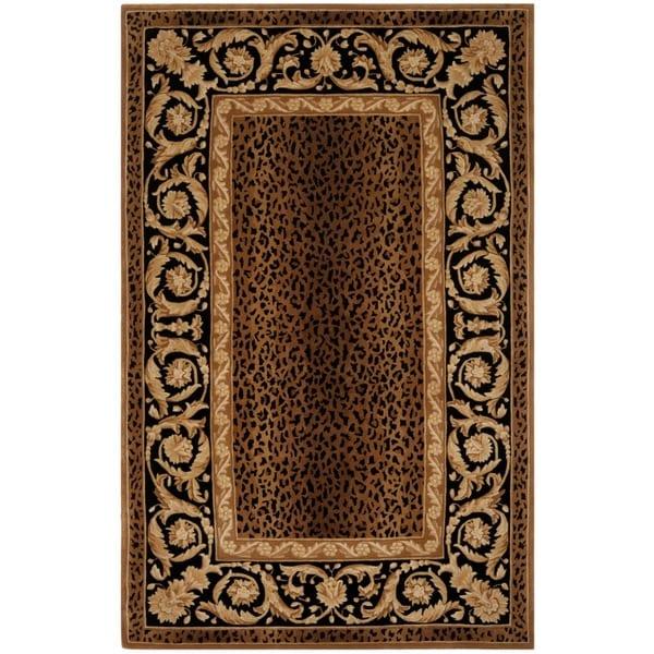 Safavieh Handmade Leopard Scrolls Brown New Zealand Wool Rug